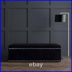 Safina Black Velvet Large Studded Storage Blanket Box SAF117