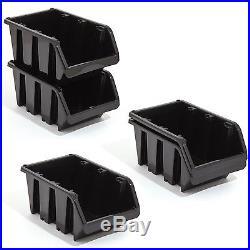 Set of 120 L large black plastic storage bin IN-Box, size 4