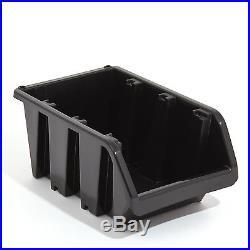 Set of 60 XXL extra large black plastic storage bin IN-Box, size 6