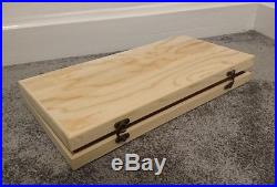 Slim display style wooden box beautifully made vintage style metal clasps large