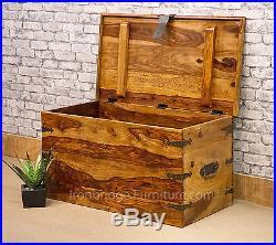 Solid Jali Sheesham Wood New Strap Chest Storage Lockable Trunk Box (Size 4) lrg