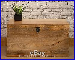 Solid Natural Mango Wood Mantis Dowry Chest Trunk Toy Box Storage Box Large SZ4