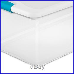 Sterilite 106-Qt. Clear Stackable Latching Storage Box Container, 8 Pack 1499