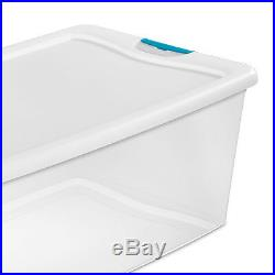 Sterilite 106 Quart Clear Plastic Latching Lid Storage Tote Container, 12 Pack