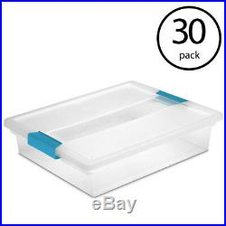 Sterilite Large File Clip Box Clear Storage Tote Container with Lid (30Pack)