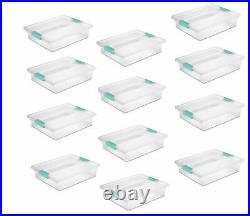 Sterilite Large Plastic File Clip Box Storage Tote Container with Lid (12 Pack)