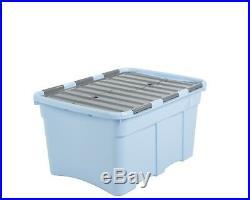 Storage Box 54l Blue With Grey LID Croc Box Wham Heavy Duty Box Large Strong