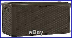 Suncast BMDB13400 Premium Extra Large Garden Wicker Large Storage Deck Box
