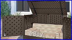Suncast VDB19500S Premium Extra Large Garden Wicker Storage Deck Box Tote