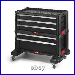 Tool Box Chest 5-Drawer Portable Rolling Plastic Storage Organizer Toolbox Black