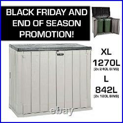 Toomax Outdoor Garden Storage Box Shed 240/120L Bin Store XL 1270L / 842L