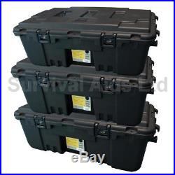 Triple Pack of Large 120L Wheeled Military Storage Trunks, Plano