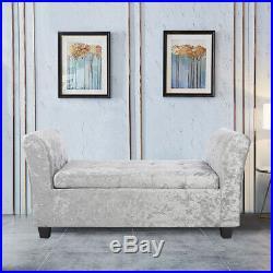 Upholstered Armrest Window Seat Storage Bench Box Crush Velvet Extra Large Chair