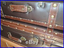 Vintage Leather Look Decorative Storage Suitcases X2 One Large One Small