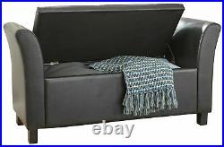 Verona Window Seat Faux Leather Large Ottoman Storage Box Bench Foot Stool Black