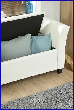 Verona Window Seat Faux Leather Large Ottoman Storage Box Bench Foot Stool White