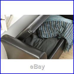 Verona Window Seat Faux Leather Large Ottoman Storage Box Bench Footstool Black
