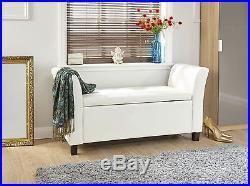 Verona Window Seat Ottoman Large Faux Leather Footstool Storage Box Bench White