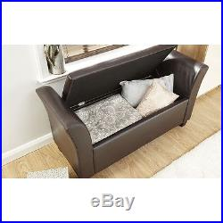 Verona Window Seat Ottoman Storage Large Faux Leather Box Bench Footstool Brown