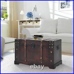 VidaXL Chest Wood Vintage Treasure Brown Storage Cabinet Box Trunk Treasure