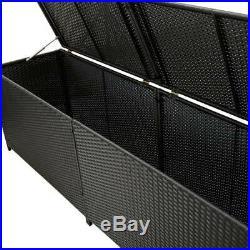 VidaXL Garden Storage Box Poly Rattan Black 200cm Chest Blanket Box Bench