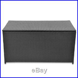 VidaXL Outdoor Garden Storage Utility Chest Case Shed Poly Rattan Black/Brown