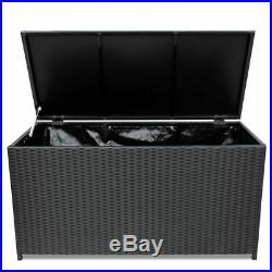VidaXL Storage Box Poly Rattan Black 150x50x60cm Outdoor Utility Chest Case