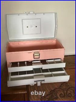 Vintage 90s Caboodles Large Rare Make Up Storage Case Organizer Box Trays Peach