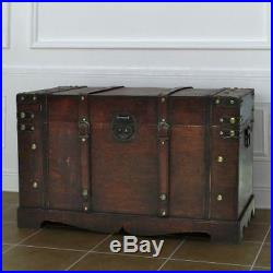 Vintage Antique Large Wooden Treasure Chest Storage Clothes Toys KeepsakeGift