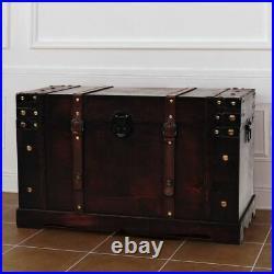 Vintage Chest Wood Treasure Brown Storage Cabinet Box Trunk Treasure Blanket Toy