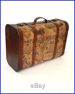 Vintage Chic World Map Case Atlas Suitcase Storage Trunk Wooden Wedding Post Box