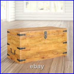 Vintage Coffee Table Furniture Wooden Storage Treasure Chest Large Trunk Box New