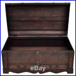 Vintage Coffee Table Storage Wood Treasure Chest Large Vintage Trunk Antique Box
