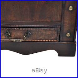 Vintage Large Chest Wooden Treasure Box Trunk Storage Table Brown With Drawers