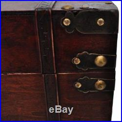 Vintage Large Chest Wooden Treasure Storage Box Trunk Compartment Brown Wood New