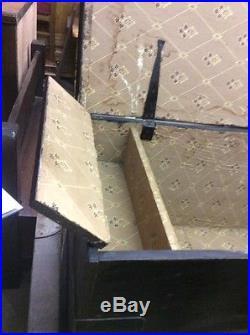 Vintage Large Elm Wood Treasure Storage Blanket Box Trunk Furniture Ti2428