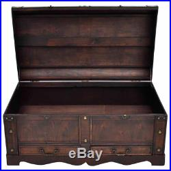 Vintage Large Wooden Treasure Chest Brown Storage Box Trunk Coffee Table Shoe