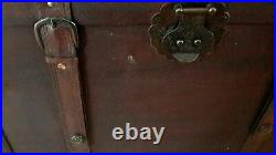 Vintage Large Wooden Treasure Chest Coffee Table Storage Trunk Pirate Box Brown