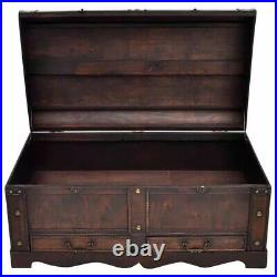 Vintage Large Wooden Treasure Chest Trunk Coffee Table with Storage Box Antique