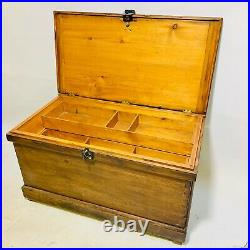 Vintage Large Wooden Trunk Blanket Box Chest With Storage