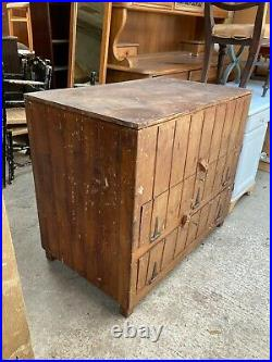 Vintage Old Natural Brown Pine Large Box Trunk Chest Storage Industrial Cabinet