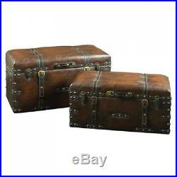 Vintage Storage Chest Trunk Set Large Treasure Old Antique Leather Box Home 2Pc