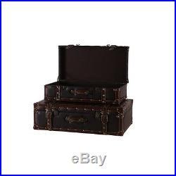 Vintage Storage Chest Trunk Suitcase Set Large Leather Antique Wood Box Home 2PC