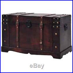 Vintage Storage Trunk Cabinet Box Coffee Table Side/End Desk Treasure Chest Wood