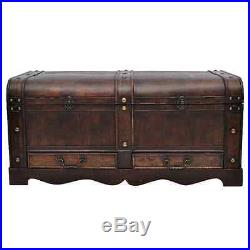 Vintage Treasure Chest Box Coffee Table Large Wooden Box Storage Brown Colour