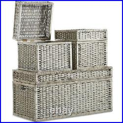 VonHaus Large Storage Wicker Trunks Baskets Boxes Organiser With Hinged Lid