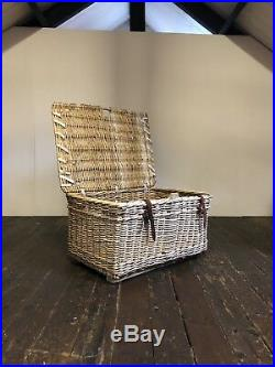 Vtg Large Wicker Rustic Steamer Traveller Storage Chest Trunk Window Box Seat