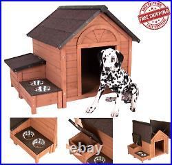 WOODEN Spruce Large DOG KENNEL House Cabin with Storage Box & Feeding Station UK