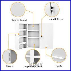 Wall Mounted Lockable Medicine Cabinet Cupboard Box Storage Shelf Large Medical