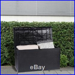 Waterproof Outdoor Lockable Black Storage Chest Box Unit Cushions Toys Tools